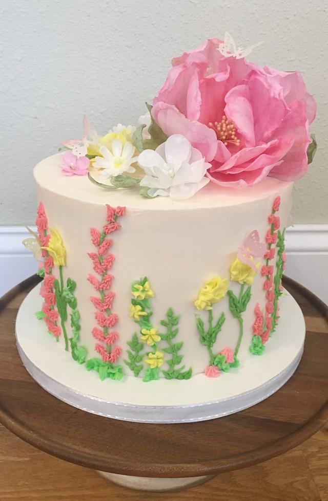 Wafer paper flower celebration cake
