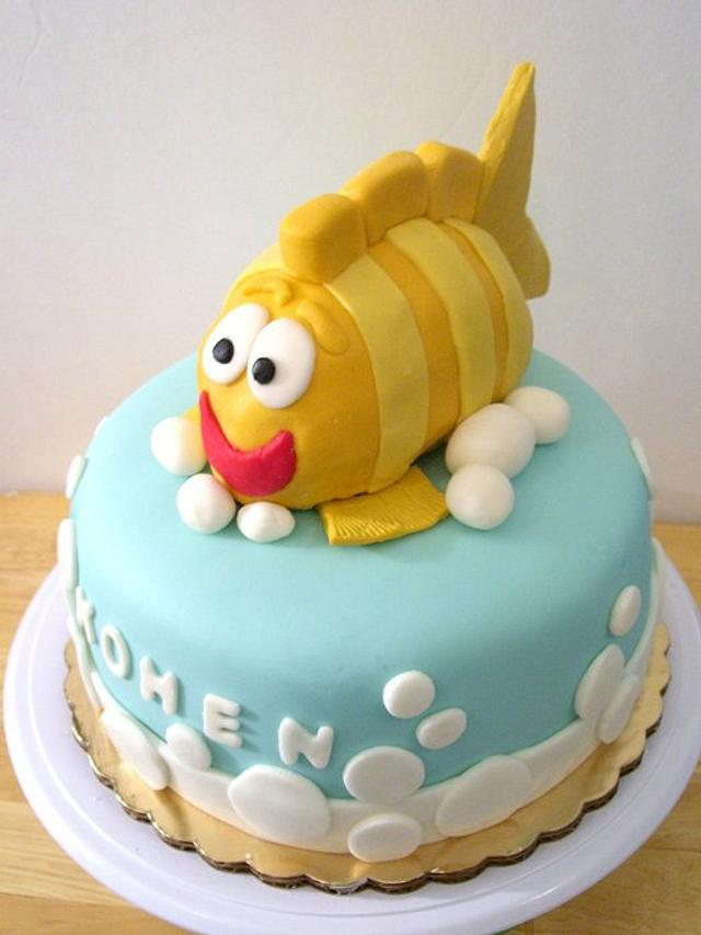 Children's Cake with Fish Topper