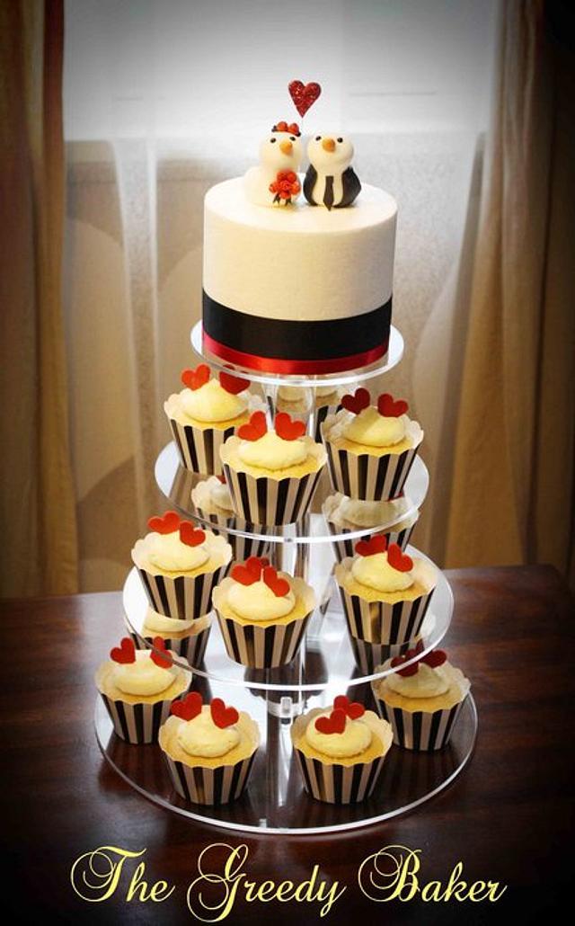 Lovebirds Cake & Cupcake Tower