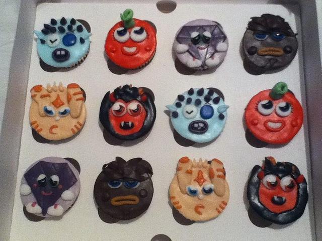 Moshi Monster character cupcakes