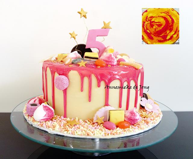 Pink & White Candyland Drip cake