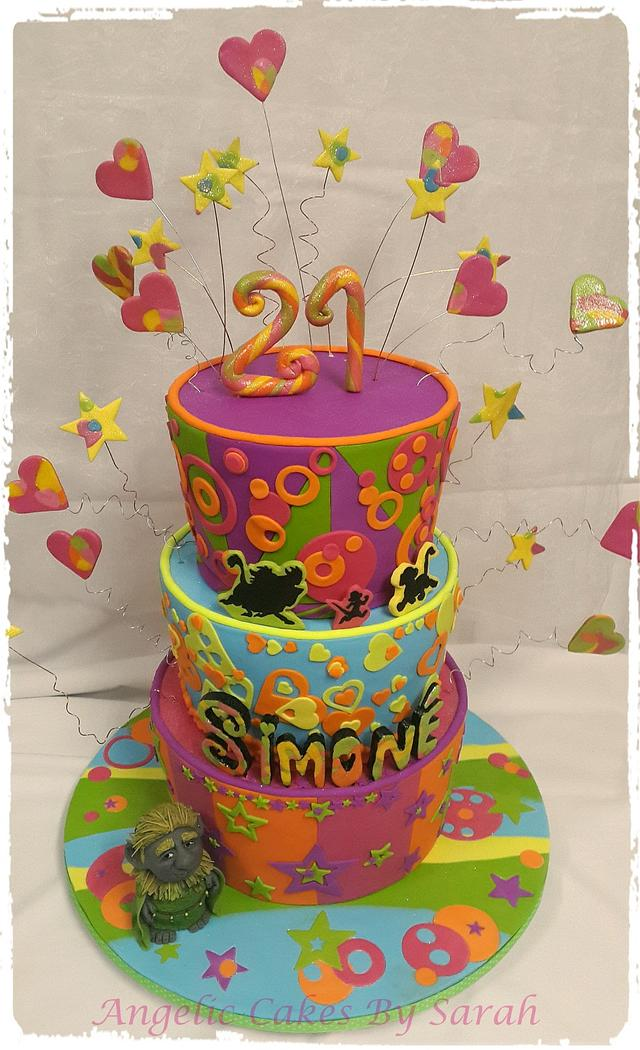 Outstanding Funky Fun Over The Top Colourful 21St Cake Cake By Cakesdecor Personalised Birthday Cards Arneslily Jamesorg