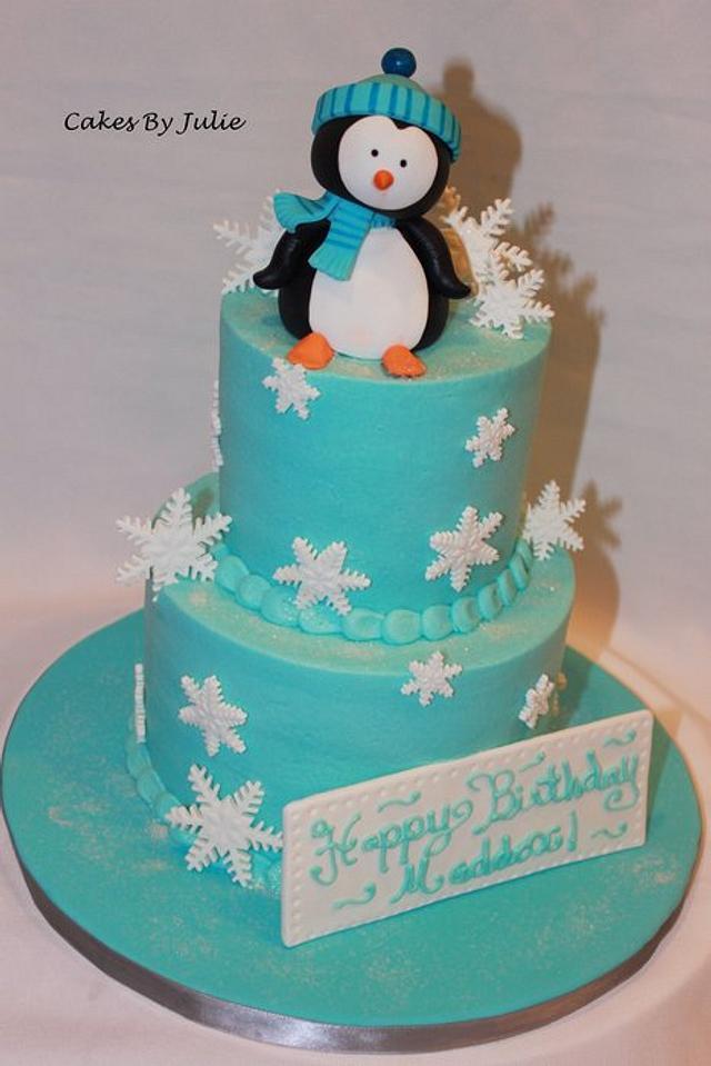 Astounding Penguin Birthday Cake Cake By Cakes By Julie Cakesdecor Funny Birthday Cards Online Alyptdamsfinfo