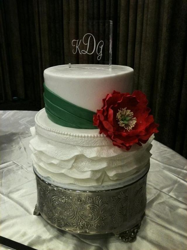 Sugar peony & fondant ruffles, artwork & sugar veil bow on back of cake