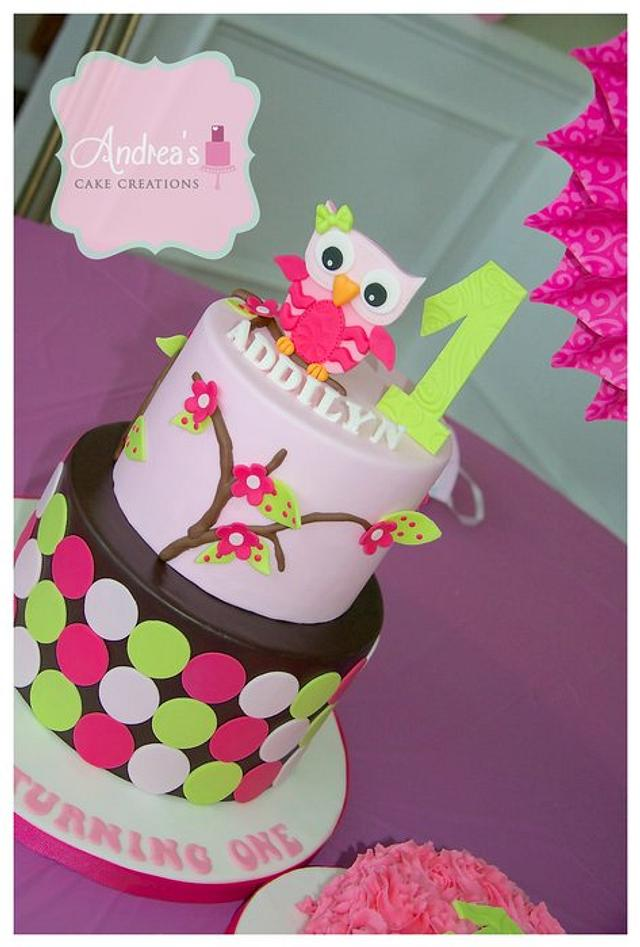 Awesome First Birthday Owl Cake Cake By Andreascakecreations Cakesdecor Personalised Birthday Cards Akebfashionlily Jamesorg