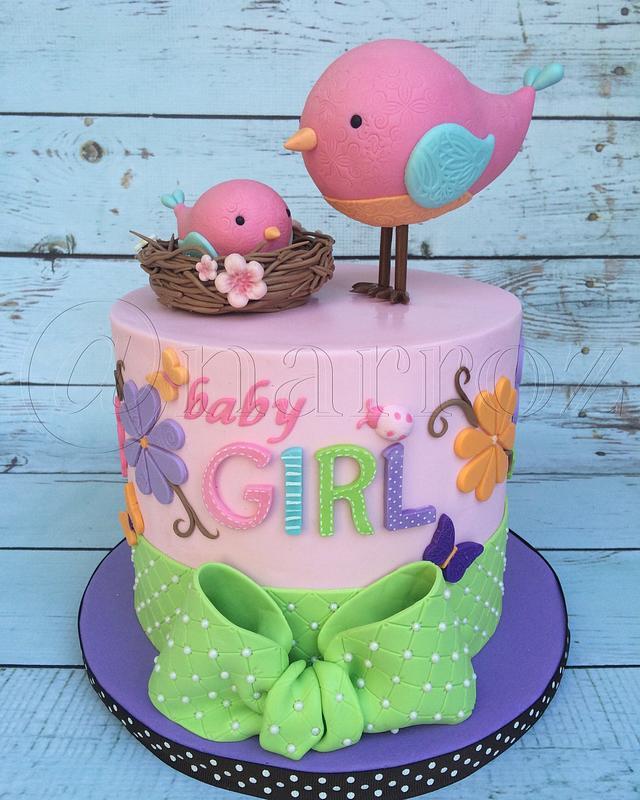 Birdie baby shower cake