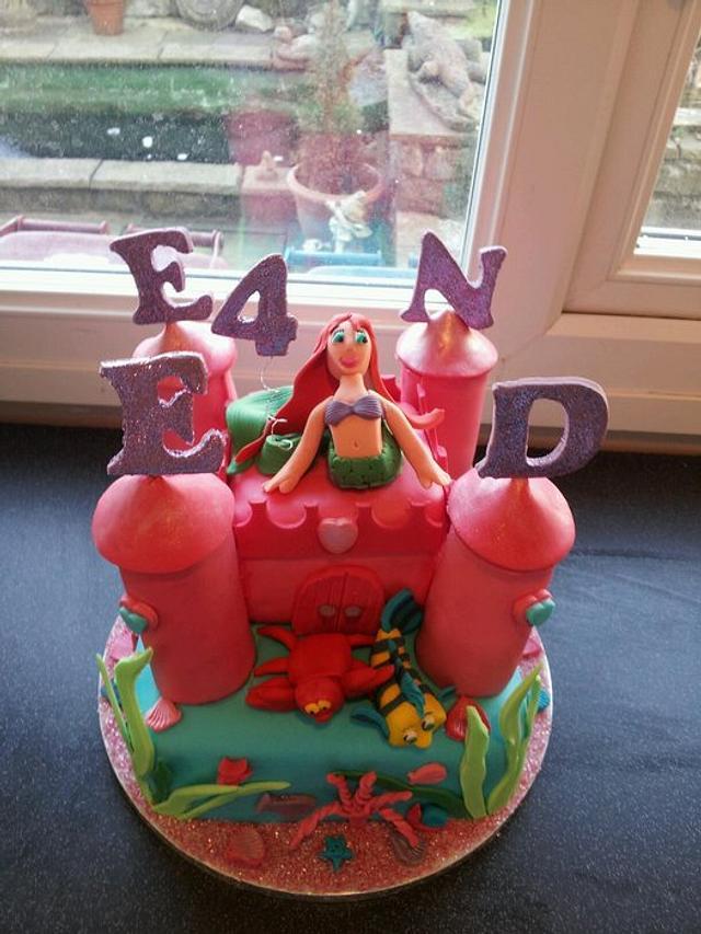 little mermaid under the sea castle cake