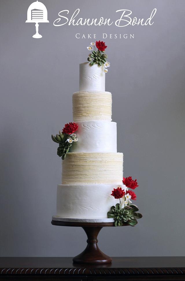 Woodgrain and Ruffle Wedding Cake