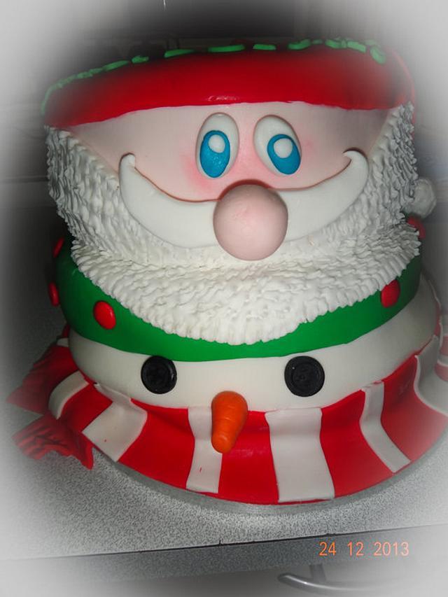 Santa and Snowman cake