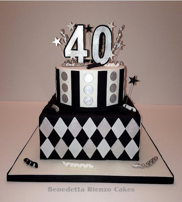 Black, White and Silver 40th Birthday Cake
