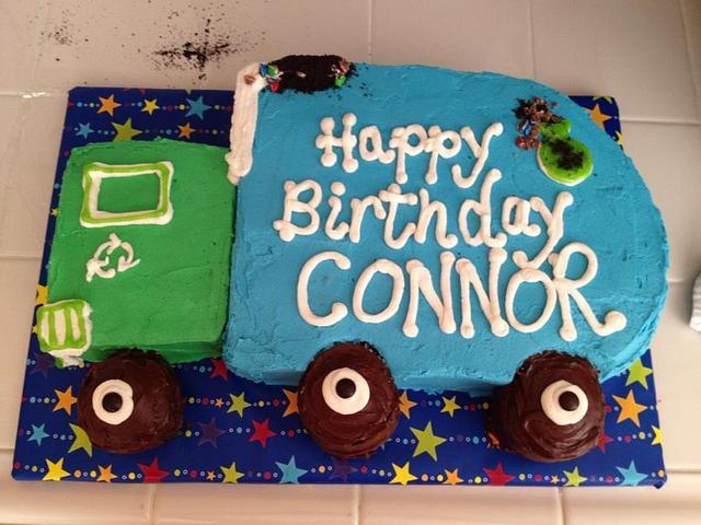 Superb Garbage Truck Birthday Cake Cake By The Ruffled Crumb Cakesdecor Personalised Birthday Cards Veneteletsinfo