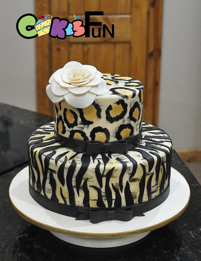 Fantastic Animal Print Birthday Cake Cake By Cakes For Fun Cakesdecor Funny Birthday Cards Online Overcheapnameinfo