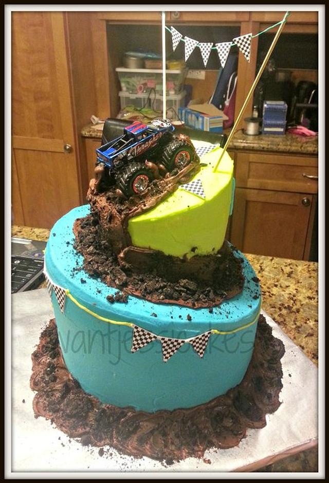Peachy Monster Truck Birthday Cake Cake By Jessica Chase Avila Cakesdecor Funny Birthday Cards Online Fluifree Goldxyz