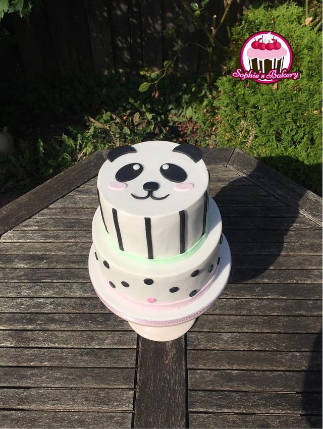 Panda dots and stripes cake