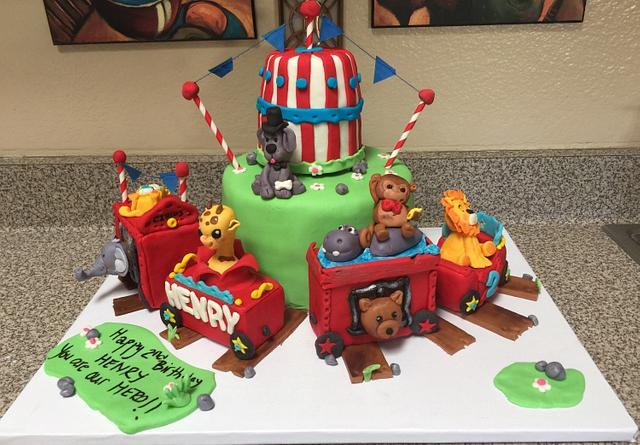Circus train cake