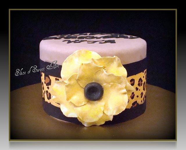 Floral and Leopard Print Cake