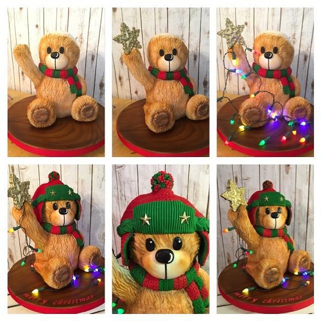 Teddy bear placing the Star!