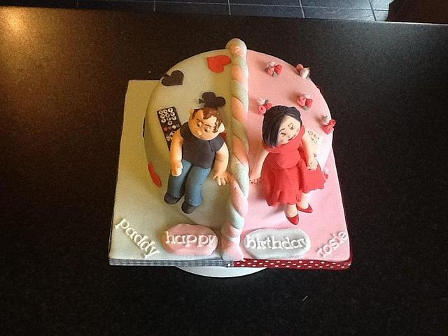 Two tone birthday cake.