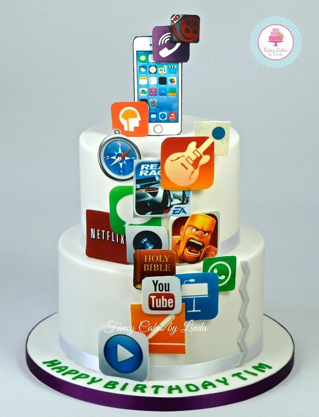 Outstanding Iphone App Birthday Cake Cake By Ceri Badham Cakesdecor Funny Birthday Cards Online Aeocydamsfinfo
