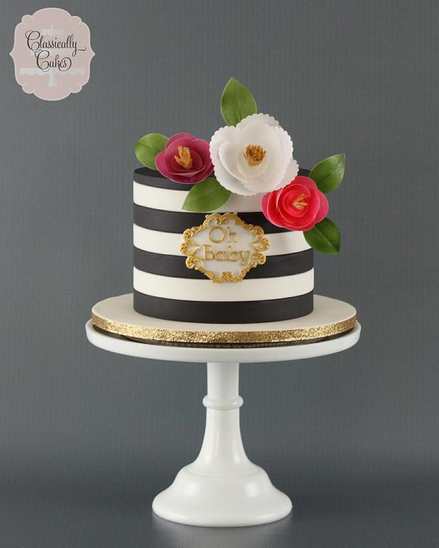 Black, White, and Gold Baby Shower Cake