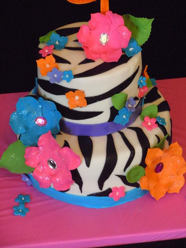 Tropical Zebra Cake