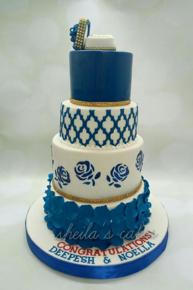 Swell Royal Blue Engagement Cake By Sheilavk Cakesdecor Birthday Cards Printable Trancafe Filternl