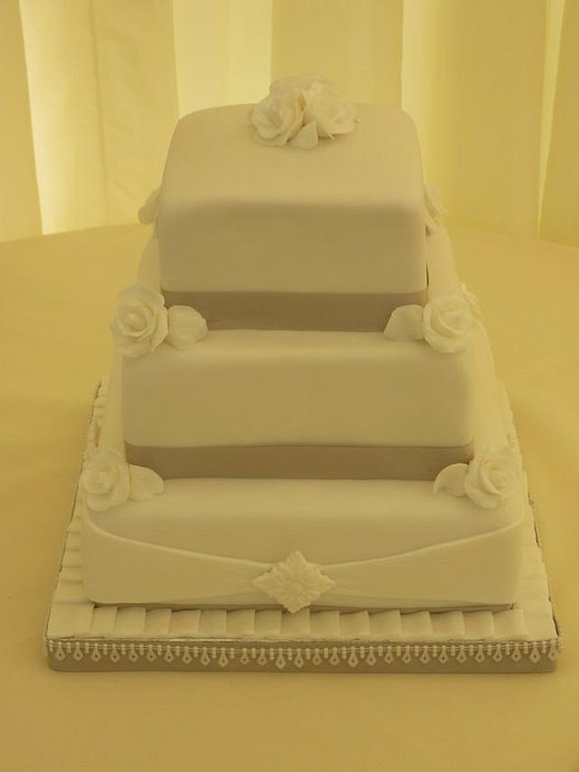 My first go at a tiered wedding cake