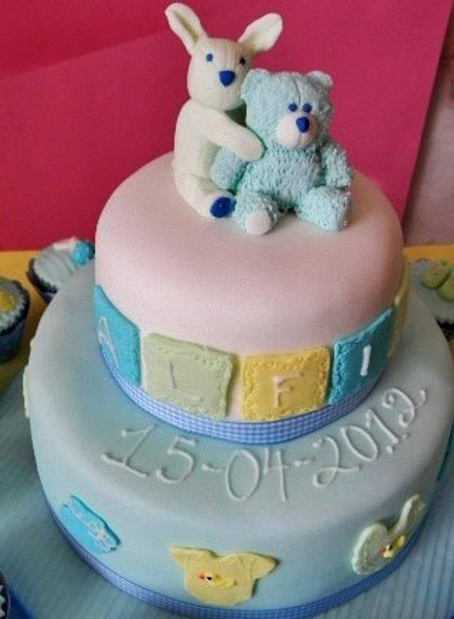 Chirstening cake for a boy