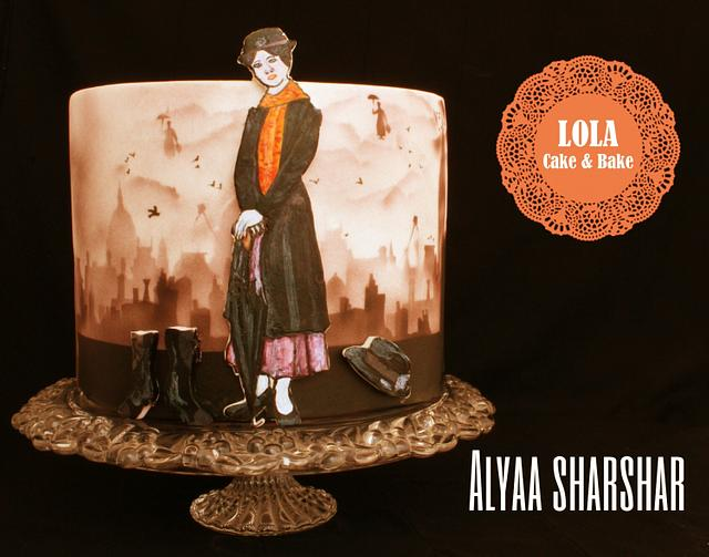 Airbrushing Mary poppins collaboration cake