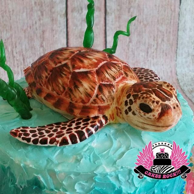 Amazing Sea Turtle Birthday Cake Cake By Cakes Rock Cakesdecor Personalised Birthday Cards Veneteletsinfo