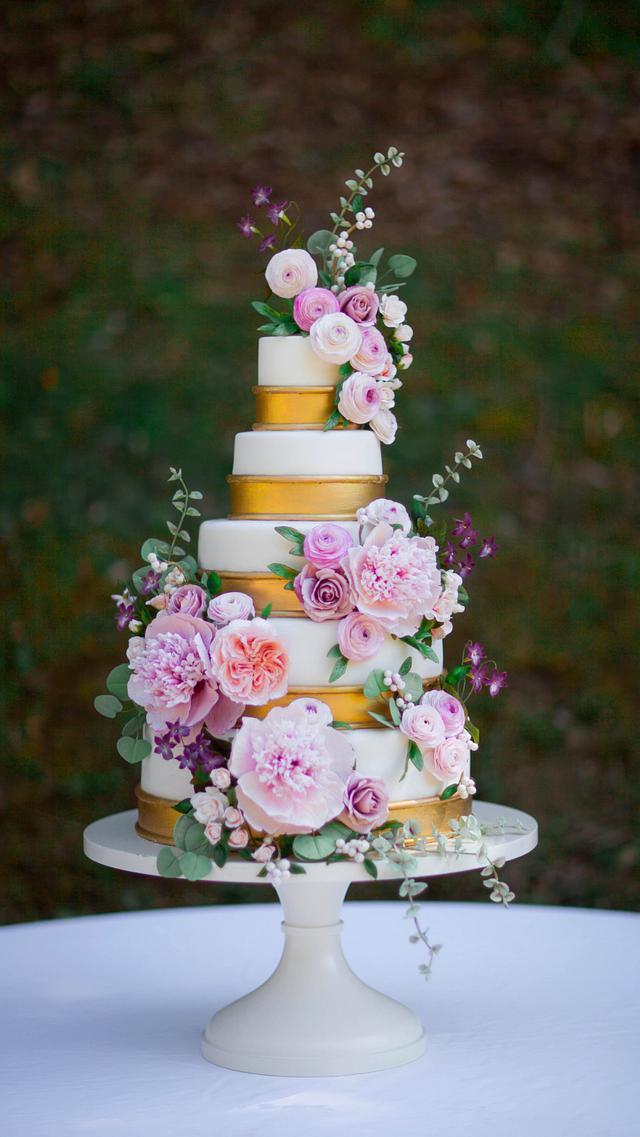 Romantic Sugar Flower Wedding Cake