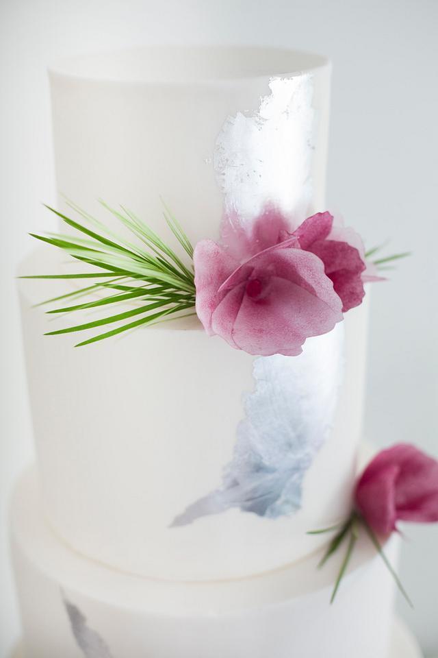 Silver & Plum Wedding Cake