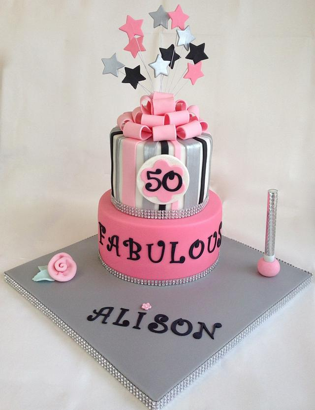 Pink and Silver 2 Tiered Cake