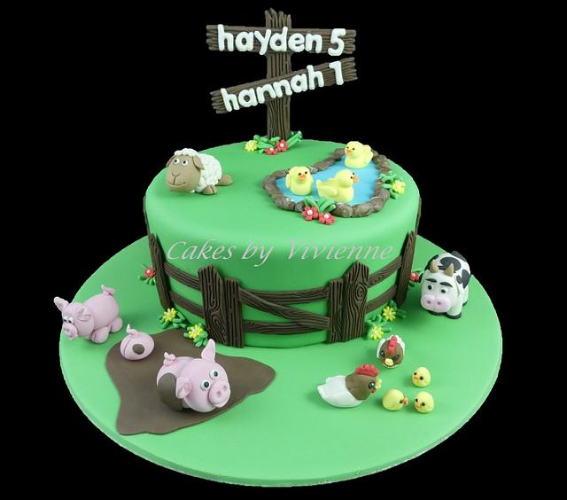 Magnificent Farm Animals Birthday Cake Cake By Cakes By Vivienne Cakesdecor Funny Birthday Cards Online Alyptdamsfinfo