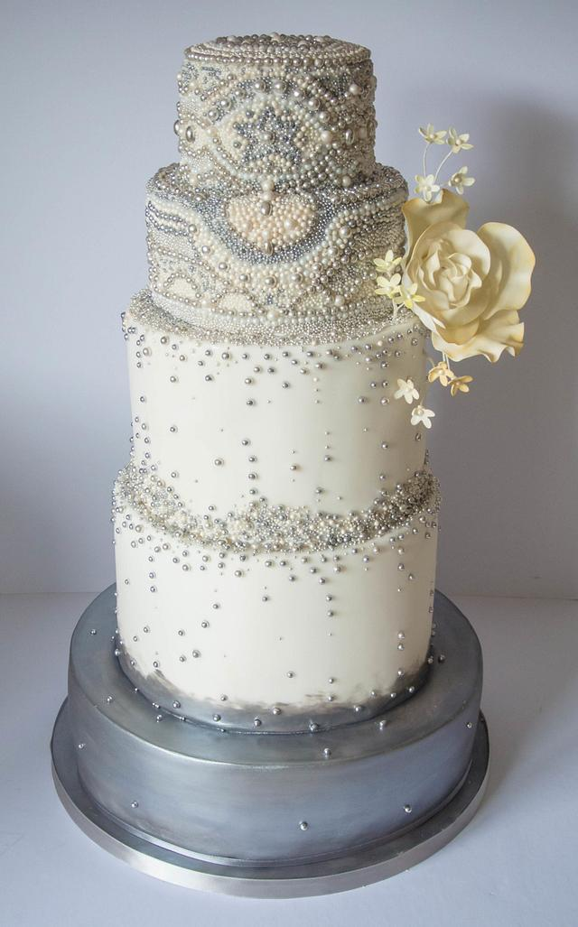 Beads beads beads! silver pearl and yellow wedding cake