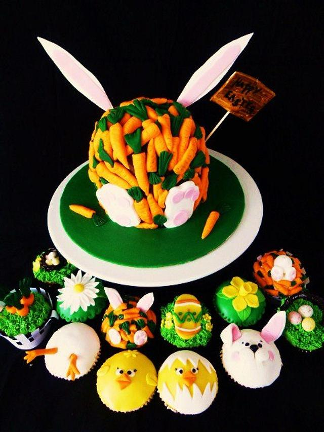Easter Bunny cake with cupcakes