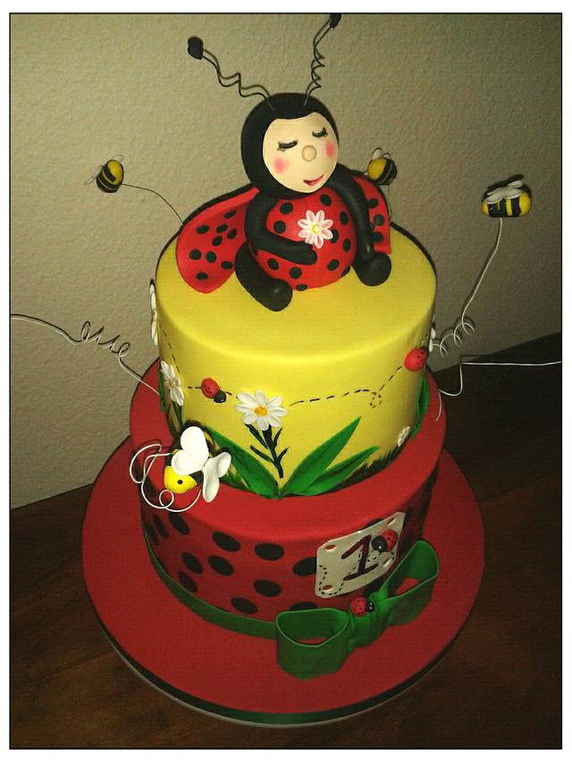Remarkable Lady Bug Birthday Cake Cake By The Manly Baker Cakesdecor Funny Birthday Cards Online Alyptdamsfinfo