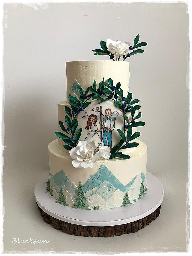 Cream wedding mountains