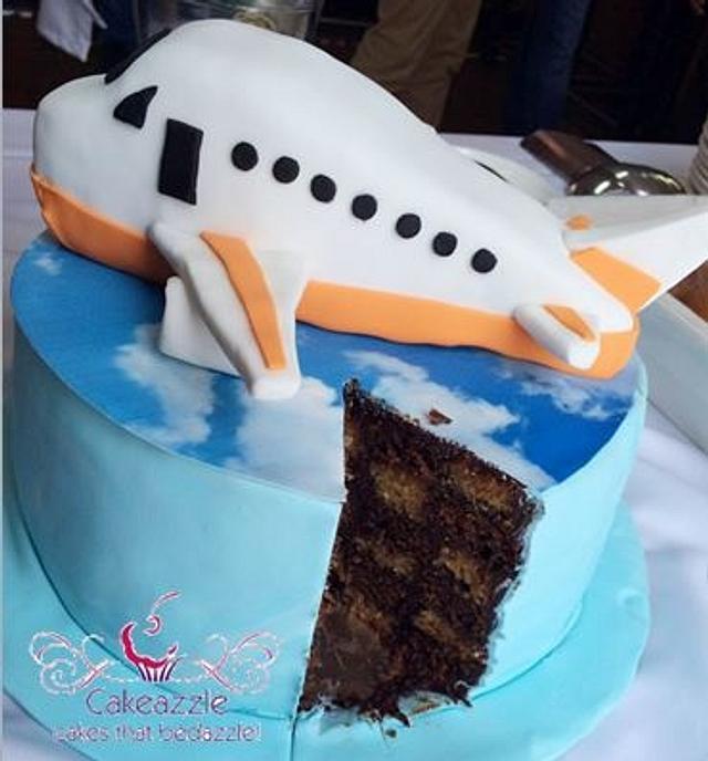 3D Aeroplane checkerboard cake