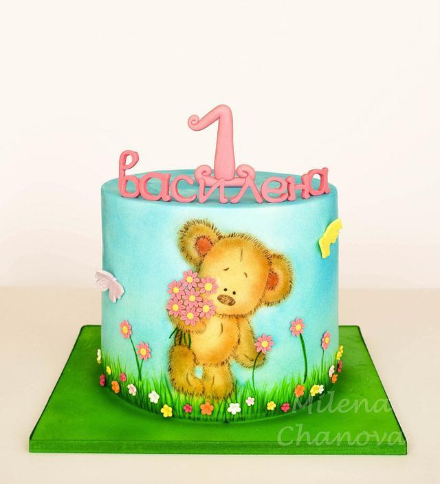 Hand Painted Bear Cake