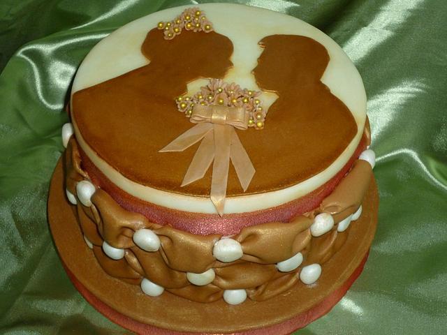 Sepia Wedding Photo Anniversary Cake