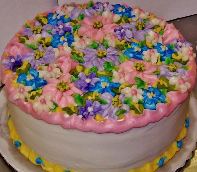 Buttercream floral layer cake