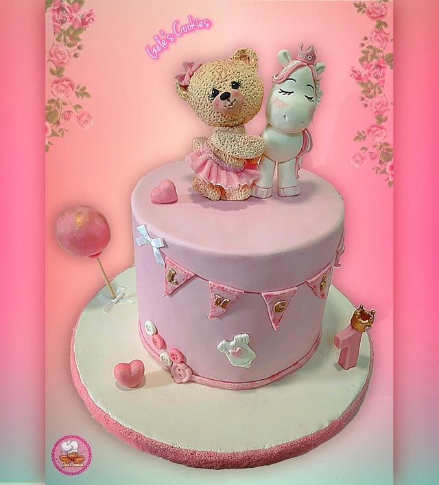 Baby girl one year cake