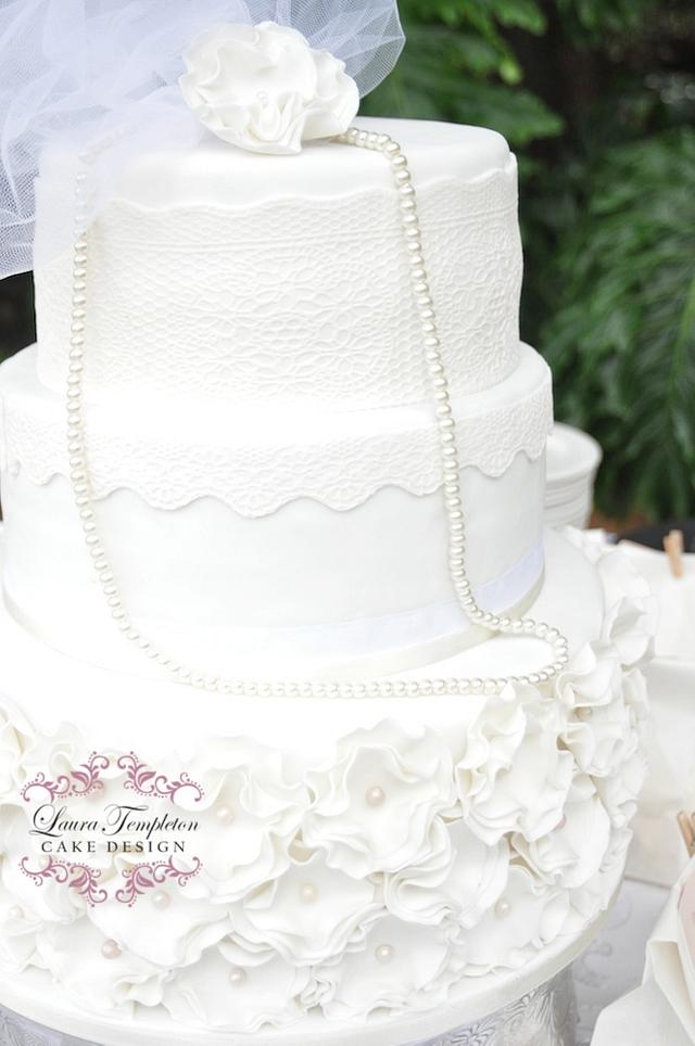 White Pearls & Lace Wedding Cake