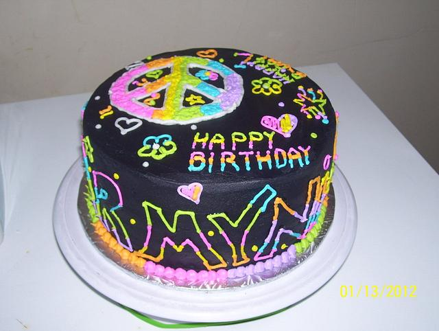 Cool Peace Love Birthday Cake By Lolobeauty Cakesdecor Personalised Birthday Cards Cominlily Jamesorg