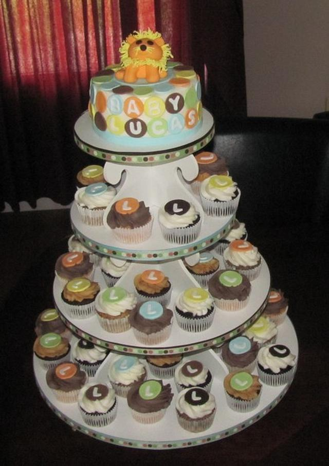 King of the Jungle Baby Shower Cupcake Tower