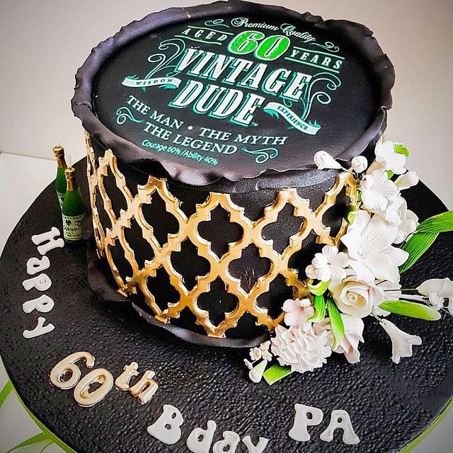 Enjoyable 60Th Birthday Cake For Dad Cake By Shafaqs Bake House Cakesdecor Birthday Cards Printable Opercafe Filternl