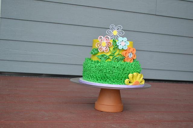 Spring Quilled Flower Buttercream Cake
