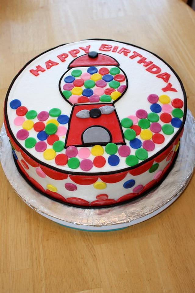 Gumball Machine Happy Birthday Cake