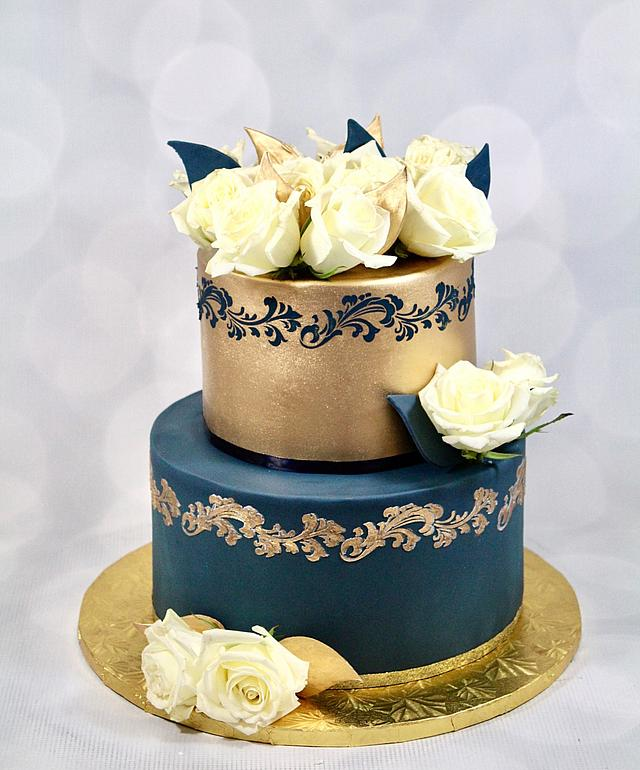 Navy and gold cake